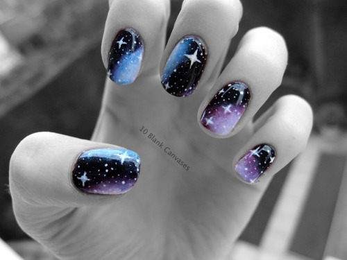10blankcanvases:  My attempt at galaxy nails