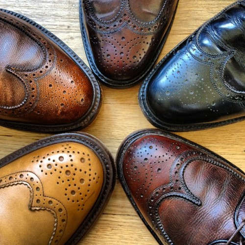 Taken with instagram Brogues. Clockwise from bottom left: Tricker's Stow Boot, Florsheim Royal Imperial Scotch Grain, Florsheim Royal Imperial Shell Cordovan, Royal Tweed by Church's Black Calf, Florsheim Royal Imperial.