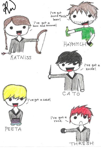"""I've got a rock"" hehe Hunger Games version :) drawn by me ^^ and yes i know Thresh is suppose to be black IN THE MOVIE: but i drew this way before. enjoy :)"