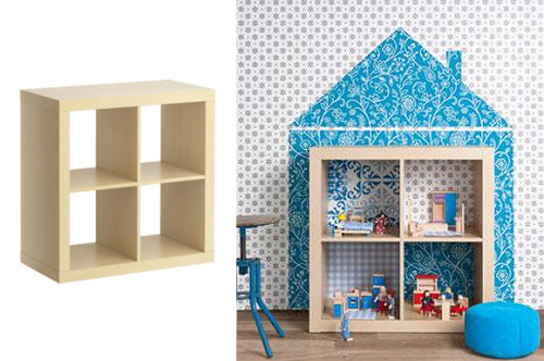 rainbowsandunicornscrafts:  DIY IKEA Hack EXPEDIT Dollhouse. Using an EXPEDIT shelving unit from IKEA here, and wallpaper, fabric or paint, create a wonderful dollhouse. Tutorial from  Woonideeen here. *There are tons of DIY removable fabric and wallpaper treatments on the internet.