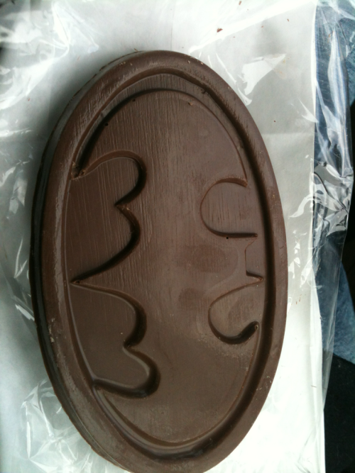 Mom bought me a chocolate Batman symbol.