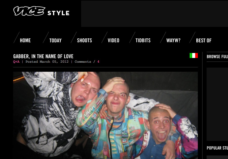 Gabber Eleganza interview on Vice Style.com http://vicestyle.com/en/news/today/post/gabber-in-the-name-of-love 2012