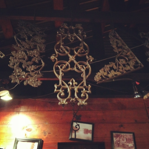 Iron work at Iron Works BBQ in Austin. Love that they have historic BBQ artifacts in there.