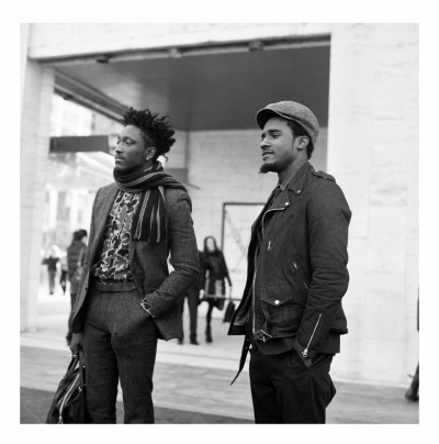 liamsawthis:  Joshua Kissi & Travis Gumbs of Street Etiquette Rolleiflex 2.8, Delta 100, heat damaged film