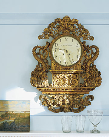 rare, mid-eighteenth-century giltwood clock