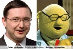 Bunsen Honeydew (scientist & Muppet) and John Hodgman (author & the Daily Show correspondant) look