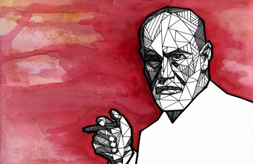 Geometric Portrait: FREUD - 1856 - 1939 Watercolor + Ink  //  Thinkers Series 1/6  //  Allison Kunath [ commission a custom geometric portrait ]
