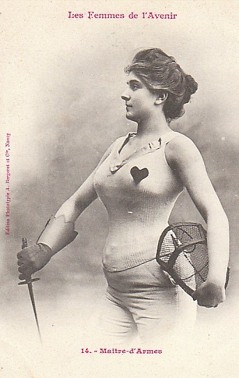 "[French photo of a Mistress-at-Arms in a somewhat improbably brief costume—see below] soyouthinkyoucansee:  ""The Women of The Future,"" according to 1902 French trading cards  In 1902, a French trading card manufacturer released this curious batch of playing cards depicting women and their futuristic careers as soldiers, lawyers, journalists, and cigarette-chomping students. But because these cards were designed to titillate, many of these outfits aren't entirely practical — note  lack of sleeves above. On the other hand , much of the military regalia pictured  will be handy in your battlefield bedroom..   Reblogging for deadpan commentary WIN. Also though these cards have made the rounds not that long ago, and I found them interesting precisely because they showed how resilient sexism is.  ""Okay, ladies, you want to vote and hold property and have careers?  Well, we just want to make sure that you know that we'll always see you in terms of just how physically pleasing you are to the vast and irritating culture of Bro-dom.""  See also: Hot for Teacher, Sexy Librarian, Sexy Nurse, etc. etc. etc. fetch me my axe."