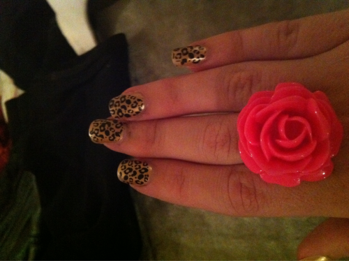 Leopard print nails (and new ring)