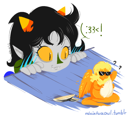 Not now Nepeta! Tiny Davesprite's trying to enjoy a sunflower seed. >:I Pfffft why can't I stop?