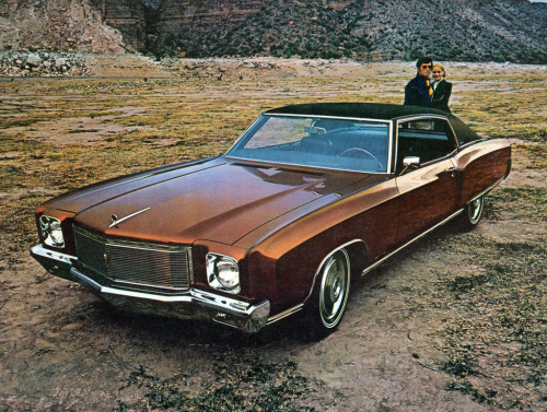 browncar:  goodoldvalves:  Chevrolet Monte Carlo advertisement (1971) I personally didn't know about this generation of the Monte Carlo. This is rather beautiful — I also love the fact that the standard, most basic engine you could get on one of these, was a 5.7L V8.  Is it me, or is there a style of automotive advertising photography from the early 70s that's got a real post-apocylptic feel?