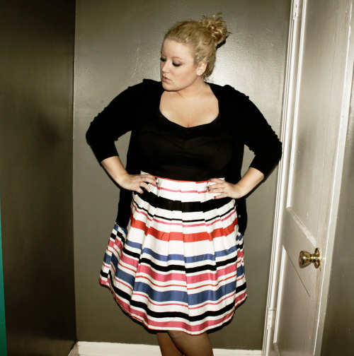 colorblock striped dress: torrid black cardigan: asos curve