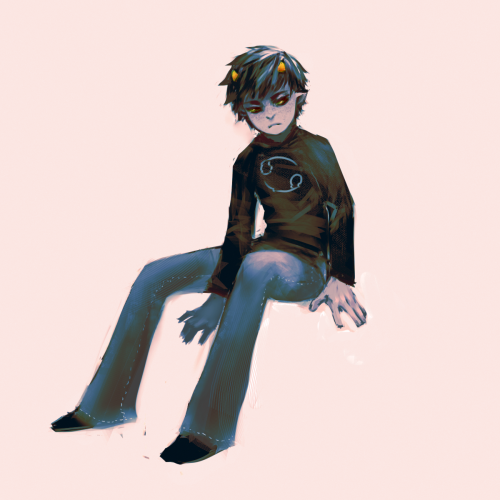 "I drew Karkat and was like ""wtf is this pose"" and tried to work around it by creating a background."