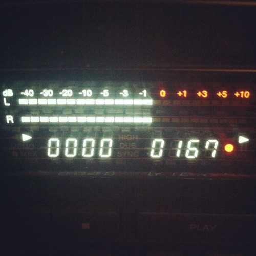 Dubbing tapes. Proud papa. (Taken with instagram)