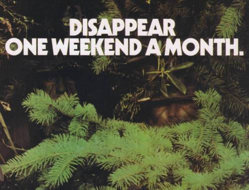 artywords:  disappear one weekend a month.