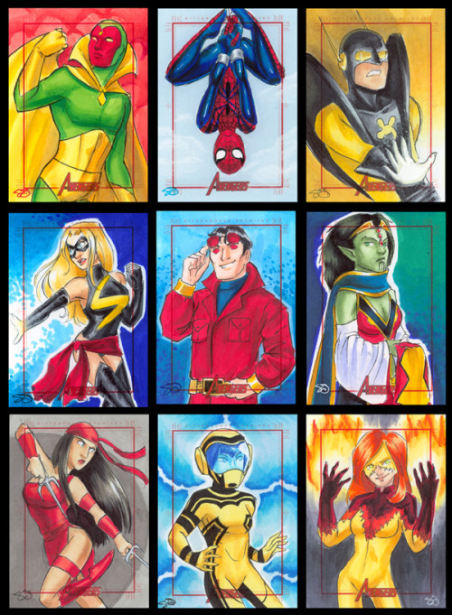 jadiejadie:  9 card 5! Left to Right, Top to Bottom:Vision, Spidergirl, Yellow JacketMiss Marvel, Wonder Man, VerankeElektra, Hazmat, Firestar