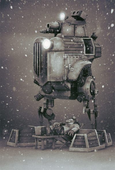 a christmas card i made for Gatling Gears.