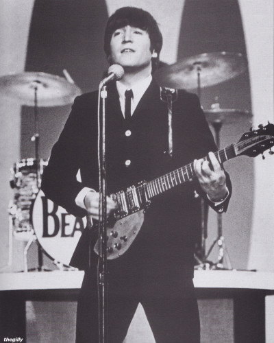 thegilly:  John Lennon on the Ed Sullivan Show, recorded on 9 February and broadcast on 23 February 1964.