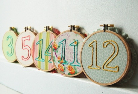 (via Custom Embroidered Wedding Table Numbers)