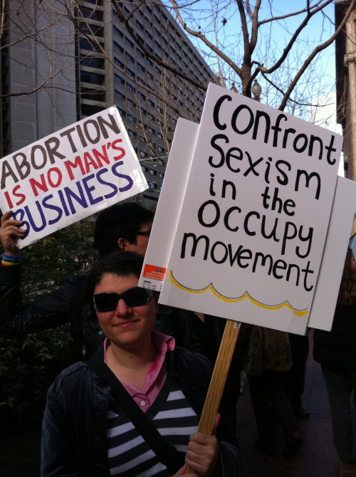 womenoccupy:  Confront sexism in the Occupy Movement!  From Occupy SF and Women Occupy march on IWD.