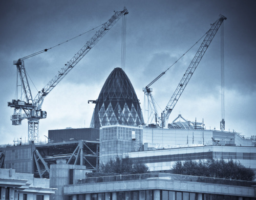 30 St Mary Axe and construction, London. (via) I prefer the composition to the treatment, but I thought I'd post it anyway.