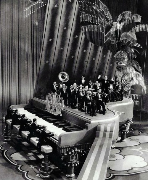 "Giant piano set from King of Jazz's ""Rhapsody in Blue"" production number (1930, dir. John Murray Anderson) Art director: Herman Rosse (via)  Clip here."