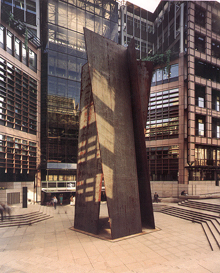 Richard Serra's Fulcrum, newly installed at the Broadgate complex. (Note the BR logo on the western entrance to Liverpool Street station.)