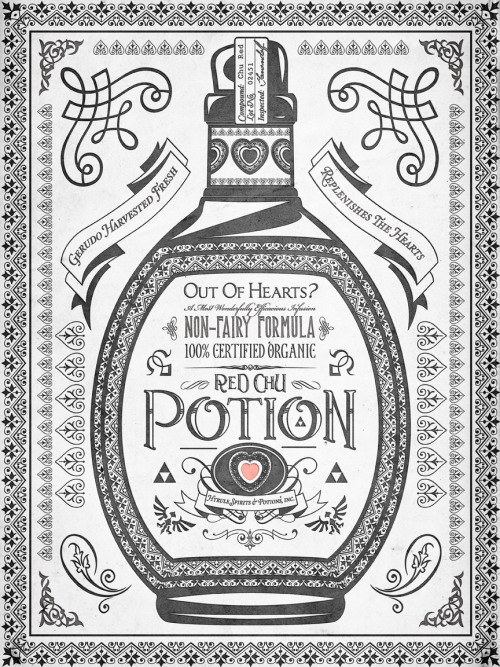 barrettbiggers:  Legend of Zelda Red Potion Vintage Hyrule Line Work Letterpress by Barrett Biggers ©2012 Prints, skins, and tshirts for sale at Society6