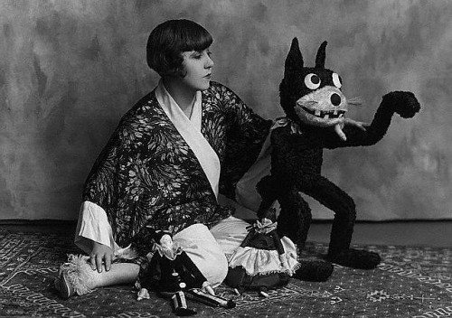 Fabulous costume designer Dolly Tree with a Krazy Kat doll -c. 1920s