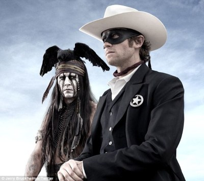 Hi-yo, Silver! Away! Armie Hammer as The Lone Ranger and Johnny Depp as his sidekick Tonto.