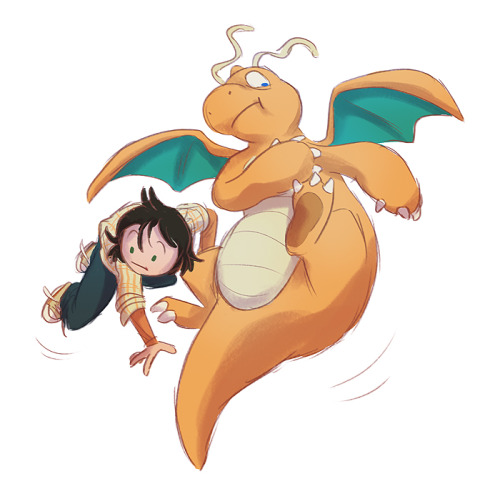 not-quite-normal:  I wanted to do a tumblrmon toooo Dragonite can be my bumbling fatty bro, floating off into space.  *A* I want to hug and squish you both.