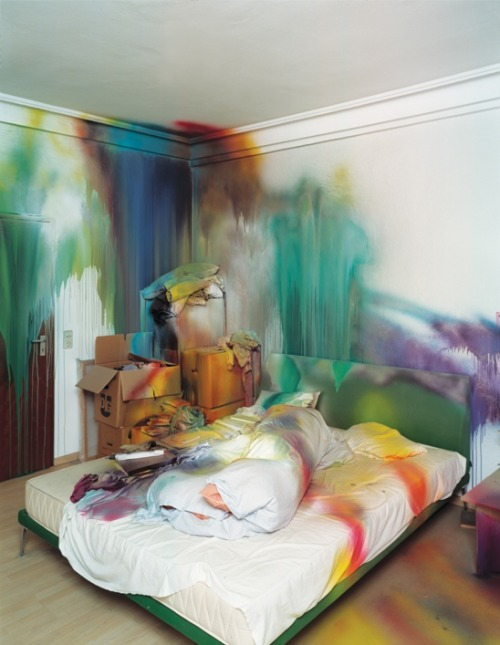 Katharina Grosse Untitled, 2004 Acrylic on Wall, floor and various objects,Approx. 110×177 x 157 inches.  Photo by Nic Tenwiggenhorn. Copyright Katharina Grosse and VG Bild-Kunst, Bonn, 2010.