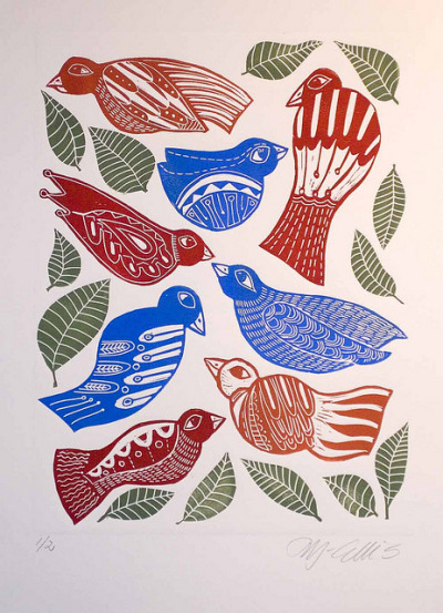 Birds by Mariann Johansen Ellis on Flickr.various lino shapes inked up separately and printed together
