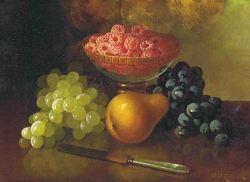 Carducius Plantagenet Ream Still Life with Raspberries, Grapes and Pear 19th century