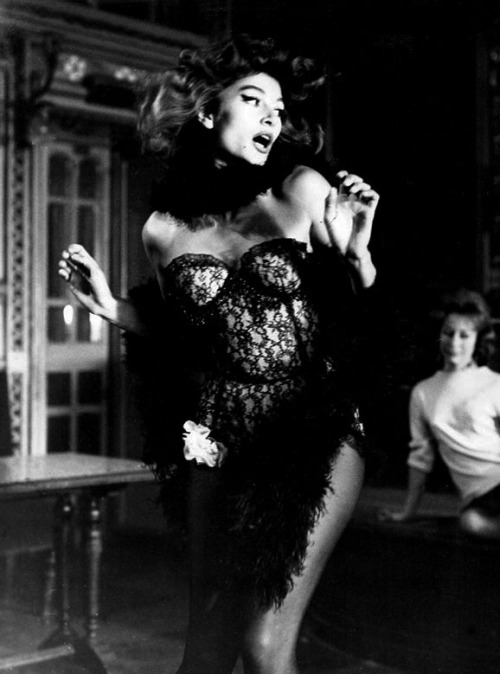 "historiful:  Actress Anouk Aimée (b. 1932), in Jacques Demy's film, ""Lola,"" 1961."