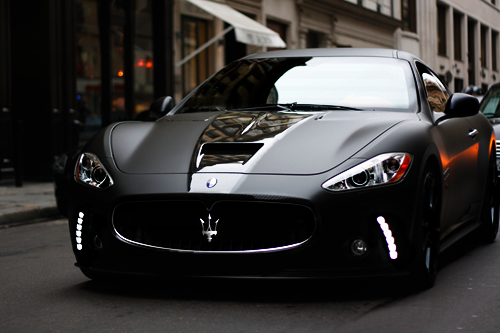 fuckyeahthebetterlife:  johnny-escobar:  Matte black Maserati GranTurismo S  There you go ;)