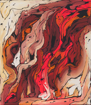 Frontal Lobe study 1, 2012Acrylic, vinyl paint, waterborne glaze500 x 400mm$1,500 (NZD)