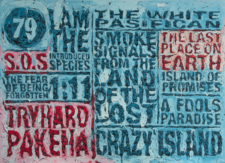Pakeha On Crazy Island, 2012Acrylic, vinyl paint, waterborne glaze1305 x 1800mm$18,000 (NZD)