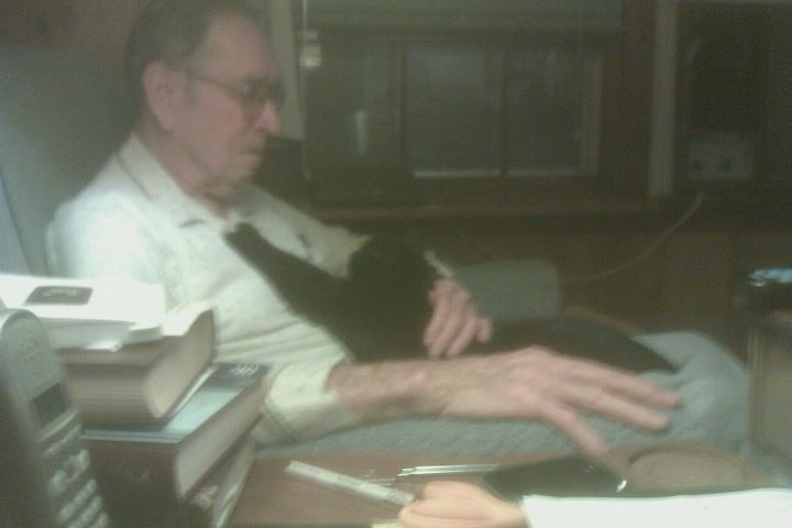 My Papaw and his favorite cat.