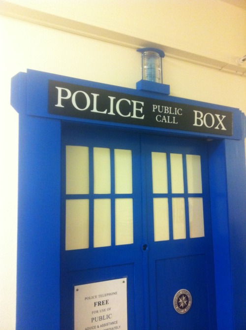 The TARDIS spotted at St. Mary's College of California Believe it or not but this is a decorated door frame that is the Tardis. I had only heard rumors of this awesome door from other college students until tonight. Not only does it look legit but the light  at the top flashes and the Tardis sound effects come from the door as well. The Honors and Science freshman dorms has the coolest students. P.S. the students room is bigger on the inside than the outside. P.S.S. Saint Mary's College of California has the best students