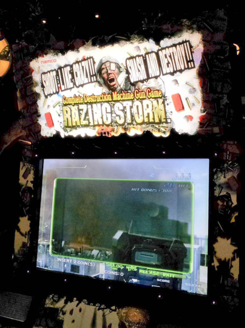 """Complete Destruction Machine Gun Game: Razing Storm."" ""Shoot like crazy!"" ""Smash and destroy!!"""
