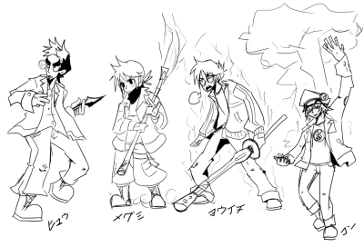 The Fab Four in battle stances. Just getting use to Photoshop again, don't mind me.