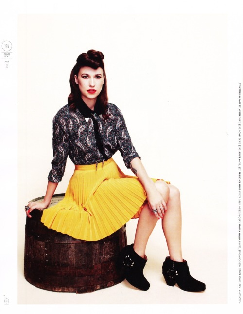Lanie Lane wears Lover Symbol Mini Skirt in Mustard YEN Magazine Issue 55, 2012