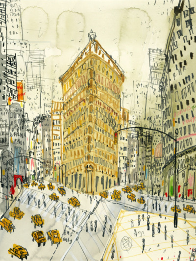 crushculdesac:  Clare Caulfield, Flatiron Building, New York (hand-painted screenprint)