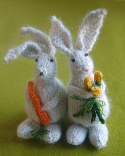 Colorful Crafting with Jen: Bunny Hop Bunnies from Knitting at KNoon - Knitting Crochet Sewing Crafts Patterns and Ideas! - the purl bee