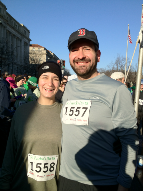 Getting ready to run the St. Patrick's 8k, with my teammate Liz (and our three months away team-member-to-be).