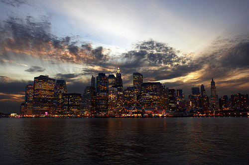 definitelydope:  Lower Manhattan at Sunset (by David M Hogan - Now on Google+ too)