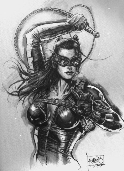 Catwoman inkwash by Rudy Ao.