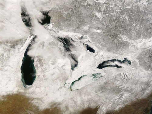 Great Lakes, Feb. 16, 2008 via NASA Great Lakes ice coverage declined an average of 71 percent over the past 40 years, according to a report by Jia Wang, an ice research climatologist at the National Oceanic and Atmospheric Administration's Great Lakes Environmental Research Laboratory in Ann Arbor, Mich. Doesn't include 2011 where only 5% of the surface froze. More at MSNBC.