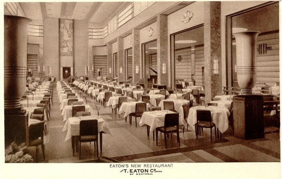 Inside the ninth floor restaurant at Eaton's department store in Montréal, Québec
